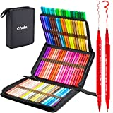 80 Colors Art Markers Set, Ohuhu Dual Tips Coloring Brush Fineliner Color Marker Pens, Water Based Marker for Calligraphy Drawing Sketching Coloring Bullet Journal Father's Day