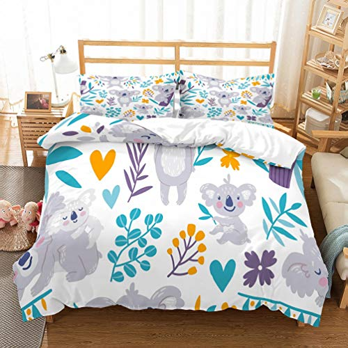 PATATINO MIO Gray Koala Mom Baby Blue Leaves Yellow Berries White Duvet Cover Bedding Set for Kids Boys Girls 3 Pieces with 1 Duvet Cover 2 Pillow Sham Queen Size