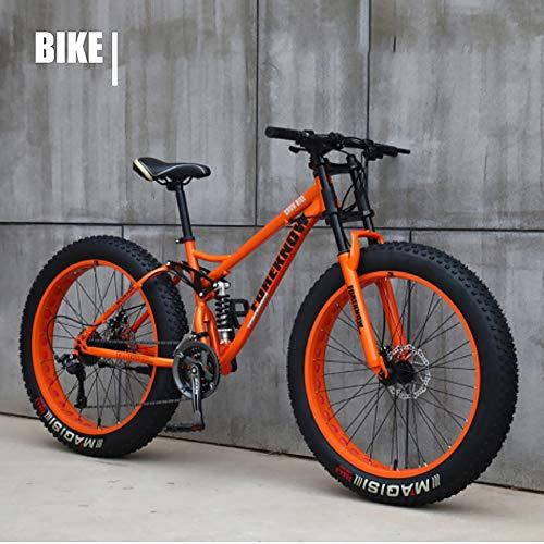 XIAOFEI Fahrrad 26 Zoll MTB Top, Fat Wheel Motorrad/Fat Bike/Fat Tire Mountainbike Beach Cruiser Snow Bike Big Reifen Fahrrad 21 Speed Fat Bikes für Erwachsene,Orange,26IN