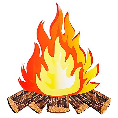 DRXX Fuego artificial decorativo de llama falsa, 3D decorativo de cartón, fogata de campamento de llama, centro de mesa de fuego, adorno de papel de llama, 5 colores