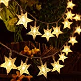 HOMVAN Luces de Estrellas 50 LED Estrellas 7.5M Baterías Powered Decorativo Blancas de Luz Cálida Luces para la Navidad, Fiesta, Jardines, Casas, Boda