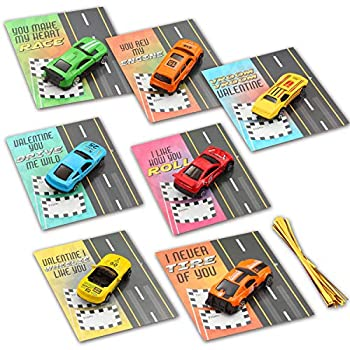 28 Valentines Day Die-Cast Racing Cars Gift Cards for Kids with Valentine's School Classroom Exchange Greeting Cards Vehicle Party Favor Toy Supplies.