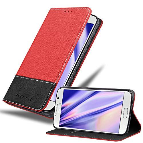Cadorabo Hülle für Samsung Galaxy S6 in ROT SCHWARZ – Handyhülle mit Magnetverschluss, Standfunktion und Kartenfach – Case Cover Schutzhülle Etui Tasche Book Klapp Style