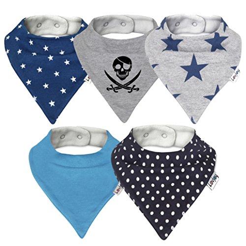 Lovjoy Bandana Baby Halstuch Lätzchen, Dreieckstucher, Für 0-3 Jahre, 5er Pack (Simply Blue)