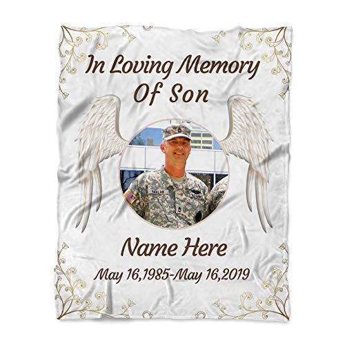 in Loving Memory of Son Memorial Ornament Sympathy Gift Memorial Loss of Soldiers Anniversary Family Friend Sympathy Gifts Funeral Service Condolence Angel Wings