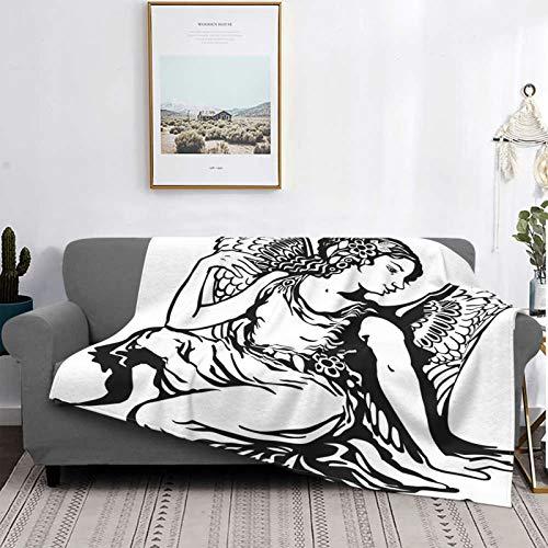 Manta de Tiro Ligero Suave Lana,Zodíaco Virgo, figura artística de mujer joven con alas de ángel Diseño de arte de tatuaje monocromo, blanco y negro,Toda la Temporada Sofá Cama Edredón,60' X 50'