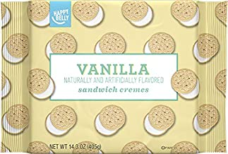 Amazon Brand - Happy Belly Sandwich Cremes, Vanilla Flavor, One 14.3 Ounce Package
