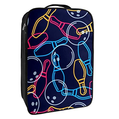 Schuh-Aufbewahrungsbox, für Reisen und den täglichen Gebrauch, Bowling-Ball, Bowling-Pins, Schuhbeutel, Organizer, tragbar, wasserdicht, bis zu 12 m, mit doppeltem Reißverschluss und 4 Taschen
