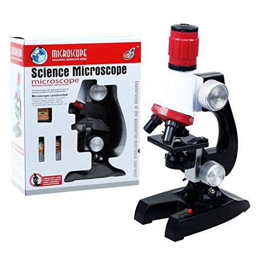 PHOEWON Microscopio Bambini 100x 400x 1200x Ingrandimento con LED Luci Scienza Microscopio per Presto Bambino Educazione
