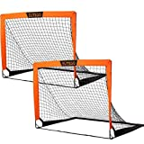 EliteGo 12'×6' Portable Football Goal | Instant Pop Up Net | Fiberglass Poles, Sets of 2 (Orange)