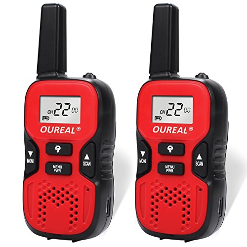 OUREAL Kids Walkie Talkies Toys Long Distance 22 Channel FRS/GMRS 2 Way Radio for Kids (1 Pair) Red