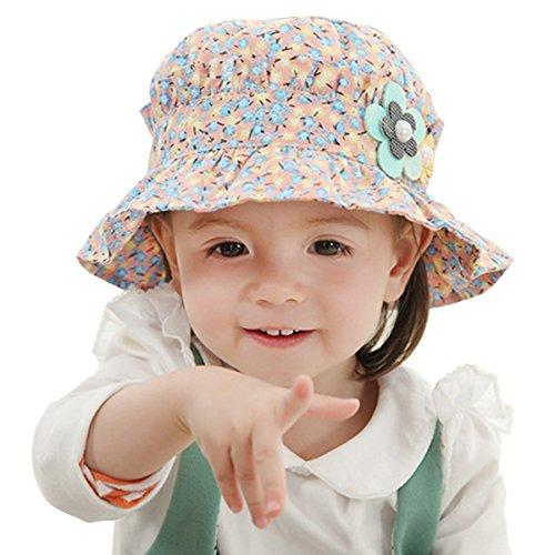ZUMUii Butterme Beau Bébé Enfant Fleur Imprimé chapeaux de soleil Chapeau Pliable Ombrelle Chapeau UPF 50+ (1y-3y)