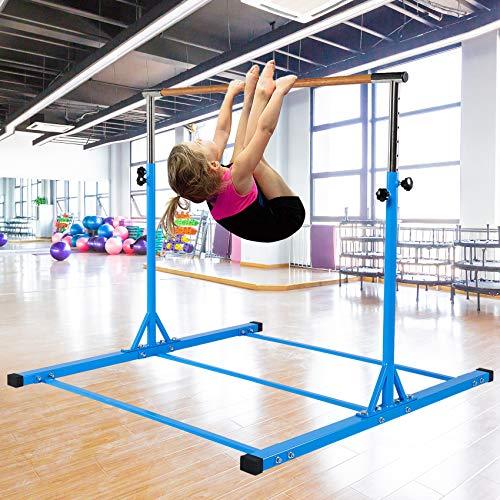Dai&F Horizontal Gymnastics Bar for Kids,Height Adjustable Junior Training Bar,Kip Bar Ideal for Gymnasts 1-4 Levels, 300 lbs Weight Capacity Blue