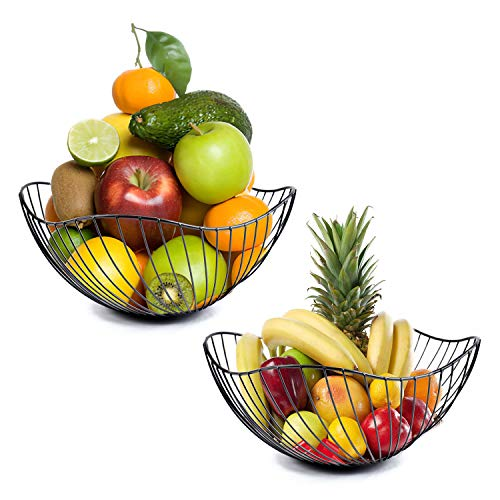 Fasmov 2 Pack Metal Wire Countertop Fruit Storage Basket Stand for for Bread, Snacks, Households Items Storage, Black
