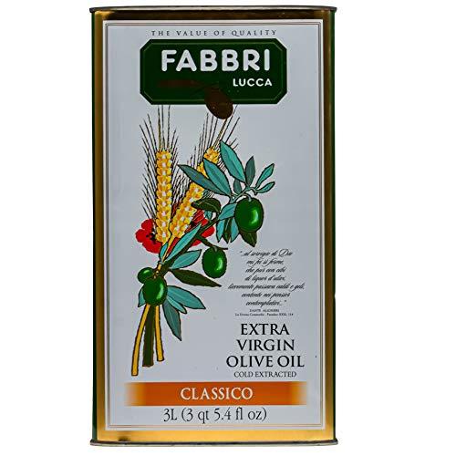 Fabbri Lucca Olivenöl Classico - 3 Liter Kanister - italienisches Öl aus der Toskana, natives Olivenöl extra vergine kaltgepresst mit wenig Säure aus Italien Lammari