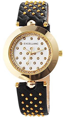 Reloj mujer Blanco Negro Oro Strass Remaches de cuero reloj de pulsera (Reloj)