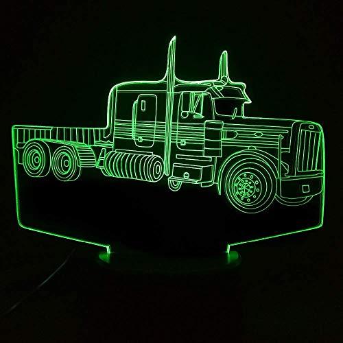 3D tractor camión faro LED ilusión luz nocturna 7 cambio de color interruptor táctil decoración de mesa luz cable USB juguete