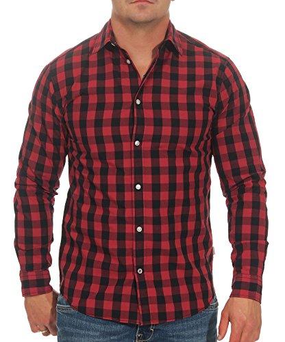 Jack & Jones Jjegingham Shirt L/s Camisa, Multicolor (Brick Red Checks:Mixed Black), Small para Hombre