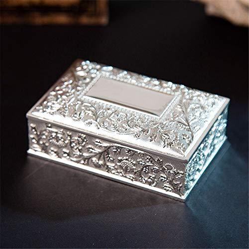 Cajas de joyería Estilo europeo anillo de caja de almacenamiento de Corea creativa retro del oro y de la plata del metal creativo de la princesa de la joyería caja del tirón Los organizadores de la jo