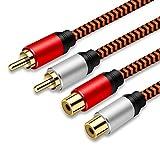 RCA延長ケーブル 1M、LiuTianデュアルシールドゴールドプレートヘビーデューティナイロンブレード2RCAオス-2RCAメスステレオオーディオケーブル、ホームシアター、HDTV、アンプ、Hi-Fiシステム用。