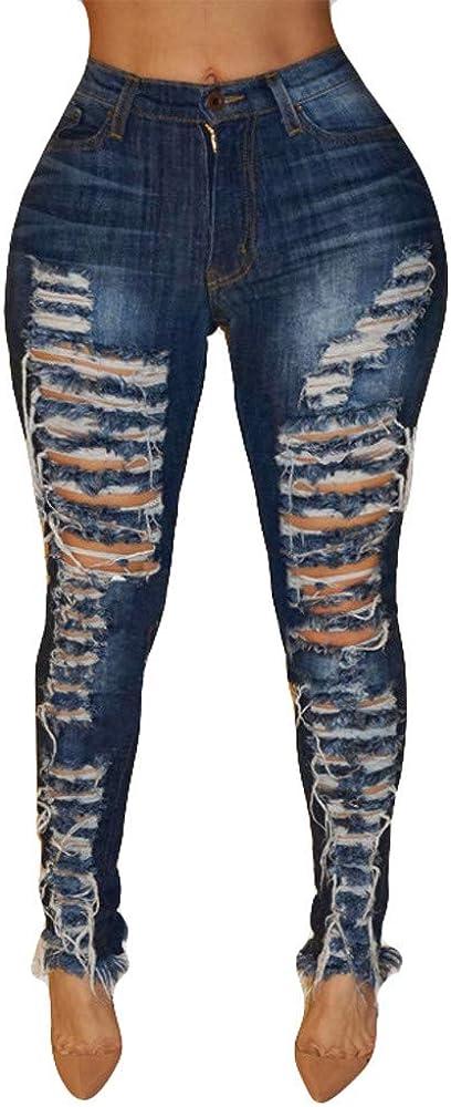 656 Women High Waisted Jeans Hole Skinny Jeans Slim Pants Calf Length Trousers Stretchy Denim Pants