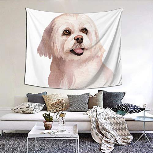 Tapices grandes y divertidos para colgar en la pared, diseño de perro blanco de acuarela de 152 x 127 cm, para dormitorio estético