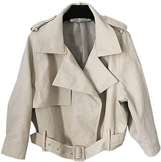 Leather Jacket Women Faux Leather Bomber Jacket Lantern Sleeve Motorcycle Short Coat,Beige,L