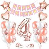 Globos de Cumpleaños 4 año, 4 Oro RosaDecoraciones, Pancarta de Feliz Cumpleaños, Decoración de Cumpleaños para 4 Niña, Globos de Confeti y Aluminio Oro Rosa, Fiesta Regalos para Niña y Mujeres y Bebe