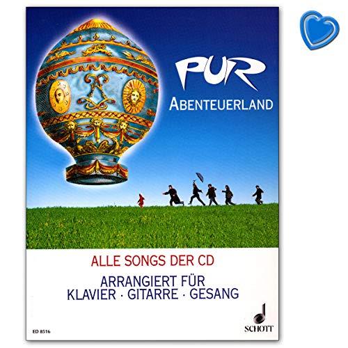 Avonturland Pur - Alle nummers van de CD gewapend voor piano, gitaar en zang - muziekboek met kleurrijke hartvormige muziekklem - Schott Music - ED8516-9783795751715