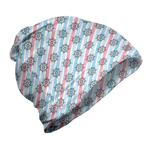 ABAKUHAUS Maritime Bonnet Unisexe, Motif continu de Rayures de Charbon de Bois au Volant dans des Tons Pastel, Randonnée et Plein Air, Bleu bébé et Rose pâle
