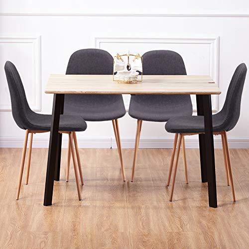 GOLDFAN Esstisch mit 4 Stühlen Essgrupp Holztisch und Grau Stoff Stuhl Esstisch Set für Wohnzimmer Küche usw 110cm