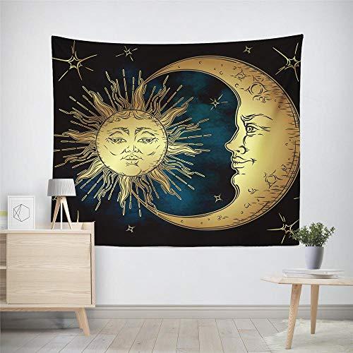 Tapiz de pared con mandala, ideal para dormitorio, sala de estar, dormitorio, decoración de dormitorio, tapices para colgar en la pared, sol, luna, L, 130 x 150 cm