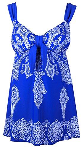 Women's Plus-Size Swimsuit Retro Print Two Piece Pin up Tankini Swimwear Blue US 24W-26W