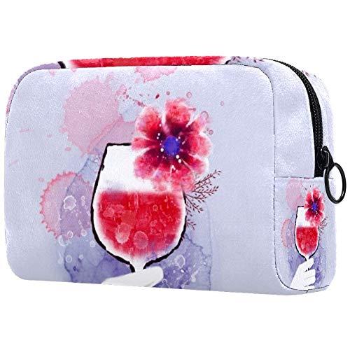 Trousse à pinceaux de maquillage personnalisable - Trousse de toilette portable pour femme - Organiseur de voyage - Verre à vin rouge