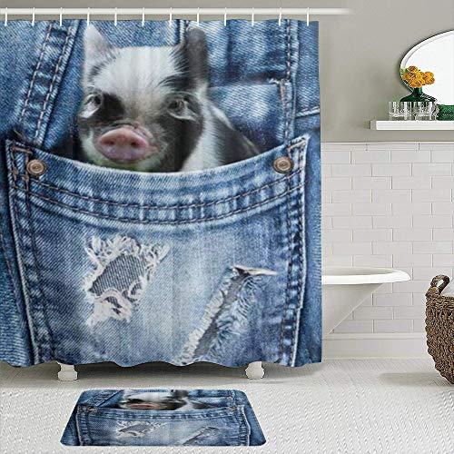 Ngkaglriap Duschvorhang Sets mit rutschfesten Teppichen,Coole Anima Mops Schwein Muster, Badematte + Duschvorhang mit 12 Haken