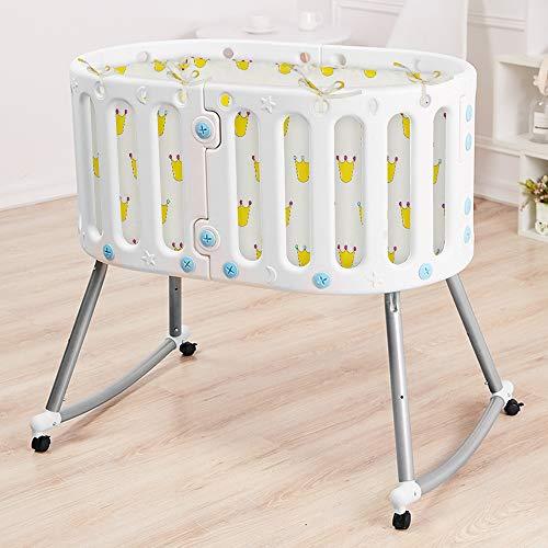 ZEHNHASE Lettino pieghevole culla neonato cucitura culla lettino dalla nascita all'infante adulto Lettino in plastica a dondolo Tavolo portatile e sedia Carrello per bambini bianco
