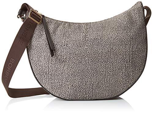 Borbonese Damen Luna Bag Kuriertasche, Braun (Op Naturale), 30x32x12 centimeters