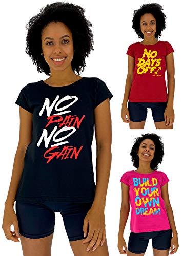 Kit 3 Camiseta Babylook Feminina MXD Conceito Cores Básicas Letreio Motivacional No Pain No Gain Sem Dias de Folga Construa Seu Próprio Sonho (G)