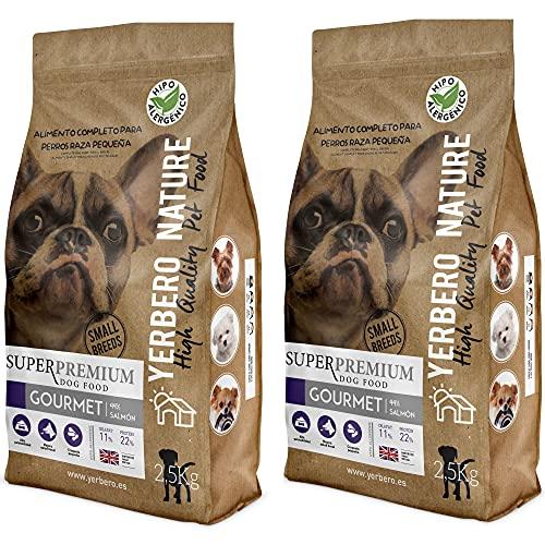 YERBERO Nature 2 uds de Gourmet salmón/boniato de 2,5 kg c/u para Perros de Razas Mini con 17% de Ahorro.