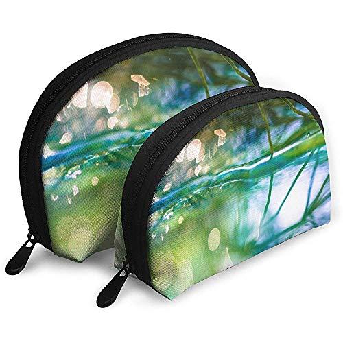 Makro Bokeh Pflanze Wasser Tragbare Taschen Make-up Kulturbeutel, Multifunktions Tragbare Reisetaschen Kleine Make-up Clutch Pouch mit Reißverschluss