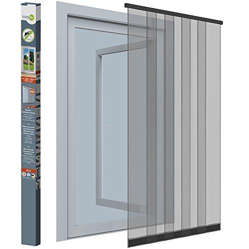 Insektenschutz-Vorhang - 125x220 cm - Lamellenvorhang für Türen mit Fliegengitter aus Fiberglas - ohne Bohren/Kleben