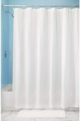 """mDesign Long Hotel Quality Polyester/Cotton Blend Fabric Shower Curtain, Reinforced Buttonholes - Jacquard Herringbone Weave for Bathroom Showers and Bathtubs - 72"""" x 84"""", White"""