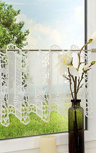 Plauener Spitze Scheibengardine Ginkgoblätter (Bx H) 96cm * 40cm weiß/naturweiß