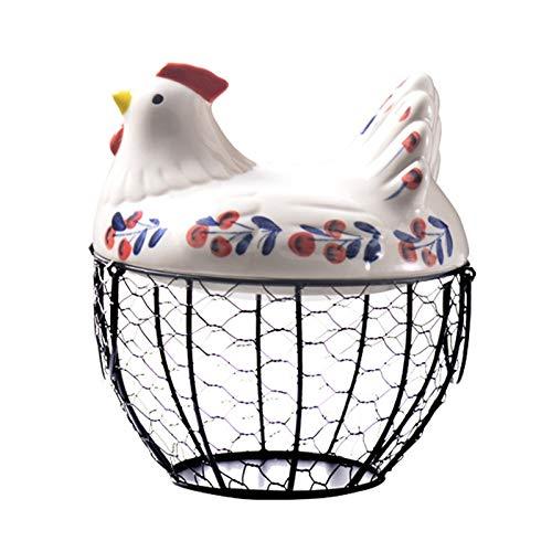 Moligh doll Cesto Porta Uova nel Ferro Snack Cesto di Frutta Collezione Creativa Decorazioni per Galline nel Ceramica Accessori da Cucina