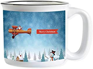 Christmas Imitated Enamel Ceramic Cup,Santa in a Plane Flying over the Forest with Snowman Jolly Season Celebration for Office,3.9