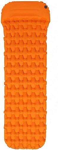 DEI QI 1-2 Personne Camping Matelas De Sommeil for Camping Air Matelas Léger portable Gonflable Coussin Sleeping Pads for La Randonnée, Voyage et Randonnée (Couleur   Orange B, Taille   Single)