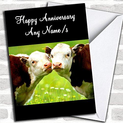 Koeien zoenen verjaardagskaart met envelop, kan volledig worden gepersonaliseerd, snel en gratis verzonden