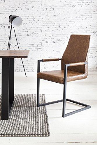 SalesFever 2er Set Stilvoller Armlehnstuhl Giada in Hellbraun, Stuhl in elegantem Design, Esszimmerstuhl mit Kunstleder bezogen, schwarz lackiertem Fuß