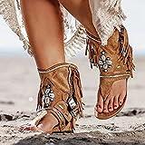 ZXCN Sandalias de Verano Bohemias para Mujer, Botines con borlas de Estilo étnico, Sandalias, Sandalias Planas de Gladiador con Tanga de Roma