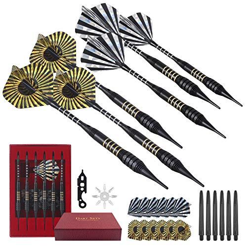 JOYHILL Dartpfeile mit kunststoffspitze für elektronische dartscheibe 6 Stück 15.5 Gram Soft Darts Pfeile Set, mit extra Dartspitzen und Werkzeugsatz… (Schwarz)